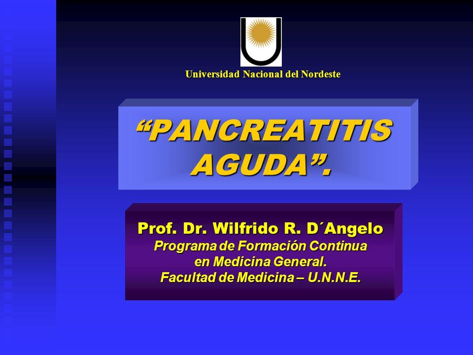 PANCREATITIS AGUDA. Prof. Dr. Wilfrido R. D´Angelo Programa de Formación Continua en Medicina General. Facultad de Medicina – U.N.N.E. Universidad Nac