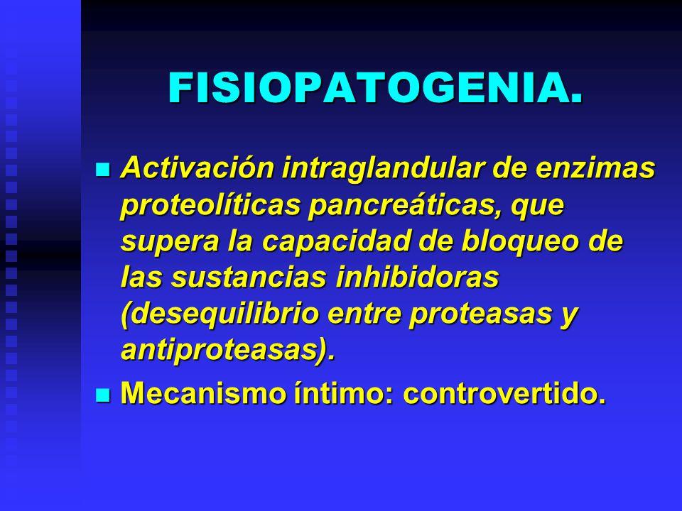 FISIOPATOGENIA. Activación intraglandular de enzimas proteolíticas pancreáticas, que supera la capacidad de bloqueo de las sustancias inhibidoras (des