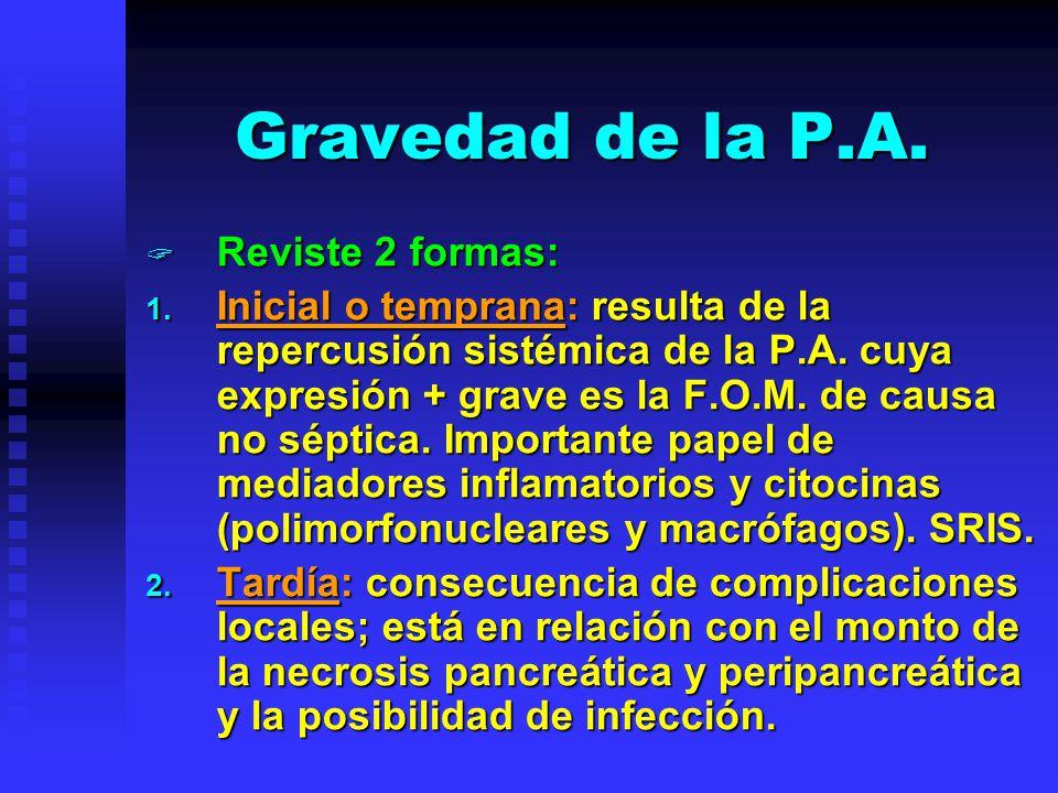 Gravedad de la P.A. Reviste 2 formas: Reviste 2 formas: 1. Inicial o temprana: resulta de la repercusión sistémica de la P.A. cuya expresión + grave e