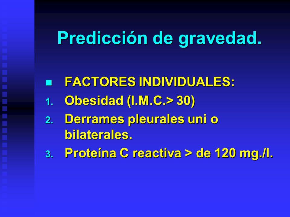 Predicción de gravedad. FACTORES INDIVIDUALES: FACTORES INDIVIDUALES: 1. Obesidad (I.M.C.> 30) 2. Derrames pleurales uni o bilaterales. 3. Proteína C