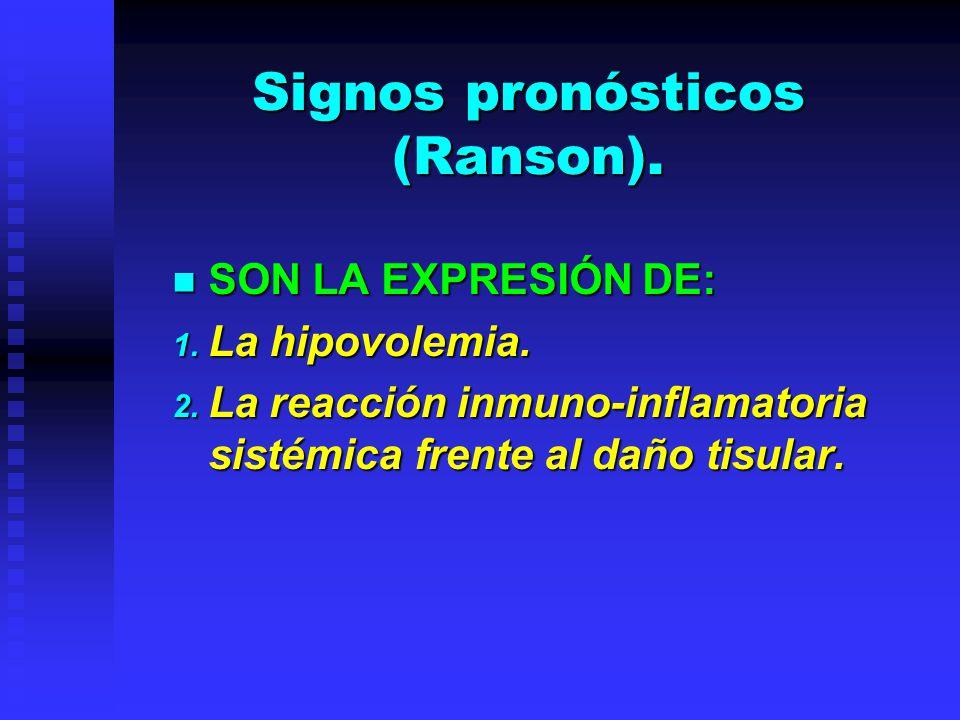 Signos pronósticos (Ranson). SON LA EXPRESIÓN DE: SON LA EXPRESIÓN DE: 1. La hipovolemia. 2. La reacción inmuno-inflamatoria sistémica frente al daño