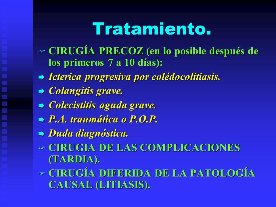 Tratamiento. CIRUGÍA PRECOZ (en lo posible después de los primeros 7 a 10 días): CIRUGÍA PRECOZ (en lo posible después de los primeros 7 a 10 días): I