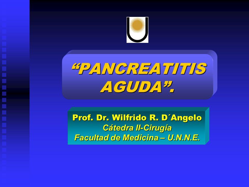 PANCREATITIS AGUDA. Prof. Dr. Wilfrido R. D´Angelo Cátedra II-Cirugía Facultad de Medicina – U.N.N.E.