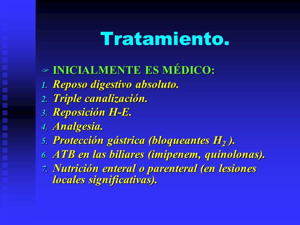 Tratamiento. INICIALMENTE ES MÉDICO: INICIALMENTE ES MÉDICO: 1. Reposo digestivo absoluto. 2. Triple canalización. 3. Reposición H-E. 4. Analgesia. 5.