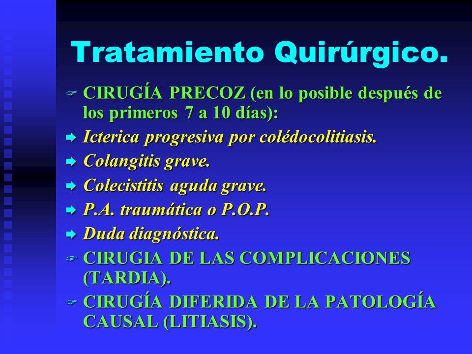 Tratamiento Quirúrgico. CIRUGÍA PRECOZ (en lo posible después de los primeros 7 a 10 días): CIRUGÍA PRECOZ (en lo posible después de los primeros 7 a