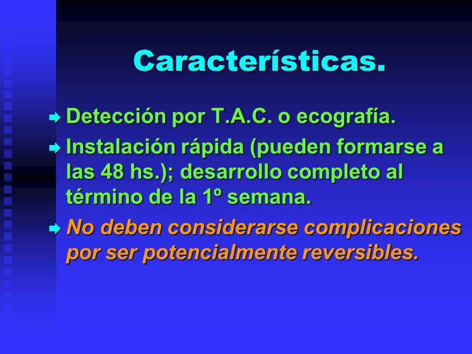 Características. Detección por T.A.C. o ecografía. Detección por T.A.C. o ecografía. Instalación rápida (pueden formarse a las 48 hs.); desarrollo com
