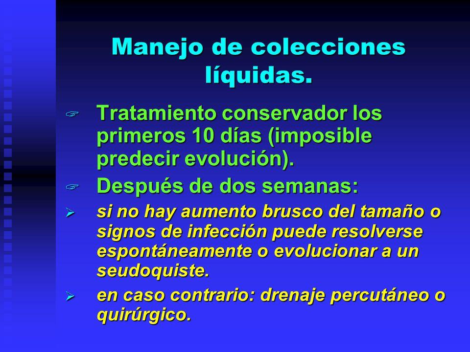 Manejo de colecciones líquidas. Tratamiento conservador los primeros 10 días (imposible predecir evolución). Tratamiento conservador los primeros 10 d