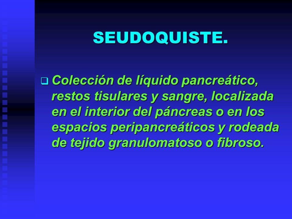 SEUDOQUISTE. Colección de líquido pancreático, restos tisulares y sangre, localizada en el interior del páncreas o en los espacios peripancreáticos y