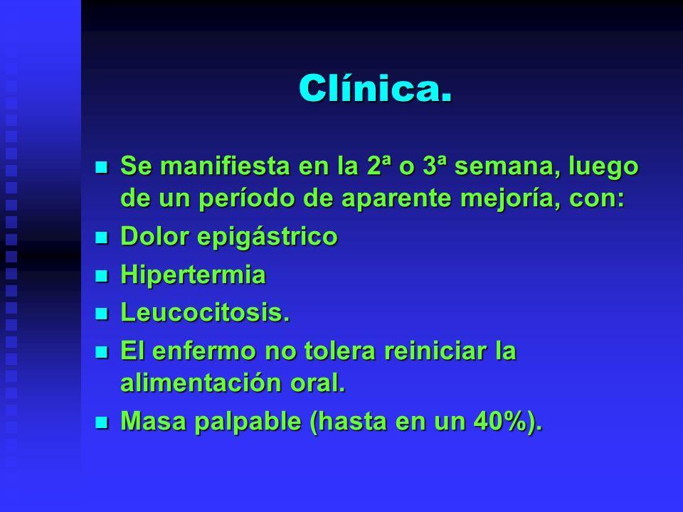Clínica. Se manifiesta en la 2ª o 3ª semana, luego de un período de aparente mejoría, con: Se manifiesta en la 2ª o 3ª semana, luego de un período de