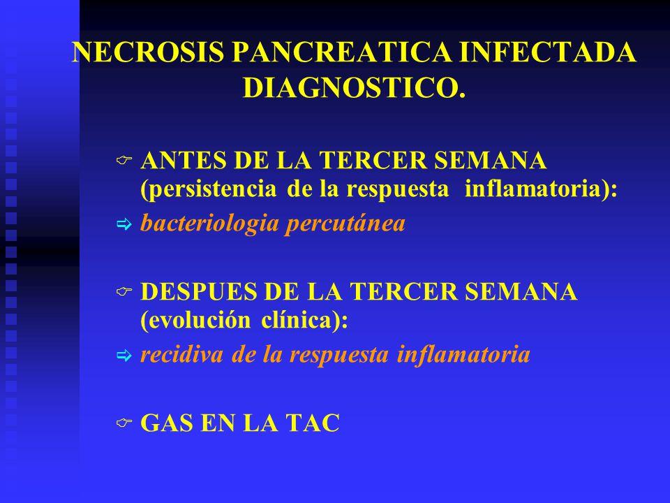 NECROSIS PANCREATICA INFECTADA DIAGNOSTICO. ANTES DE LA TERCER SEMANA (persistencia de la respuesta inflamatoria): bacteriologia percutánea DESPUES DE