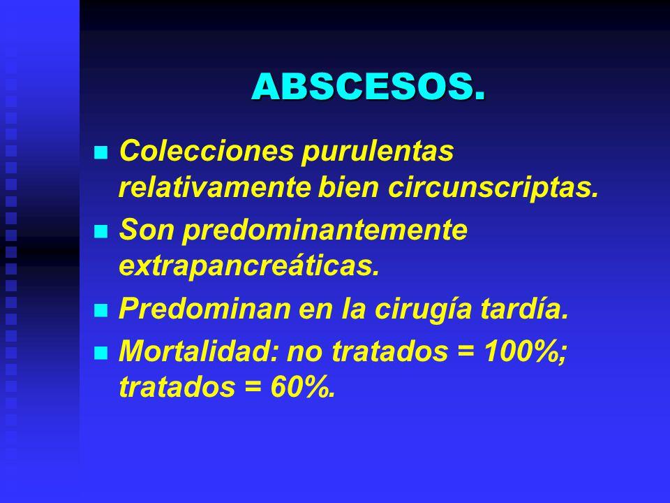 ABSCESOS. Colecciones purulentas relativamente bien circunscriptas. Son predominantemente extrapancreáticas. Predominan en la cirugía tardía. Mortalid