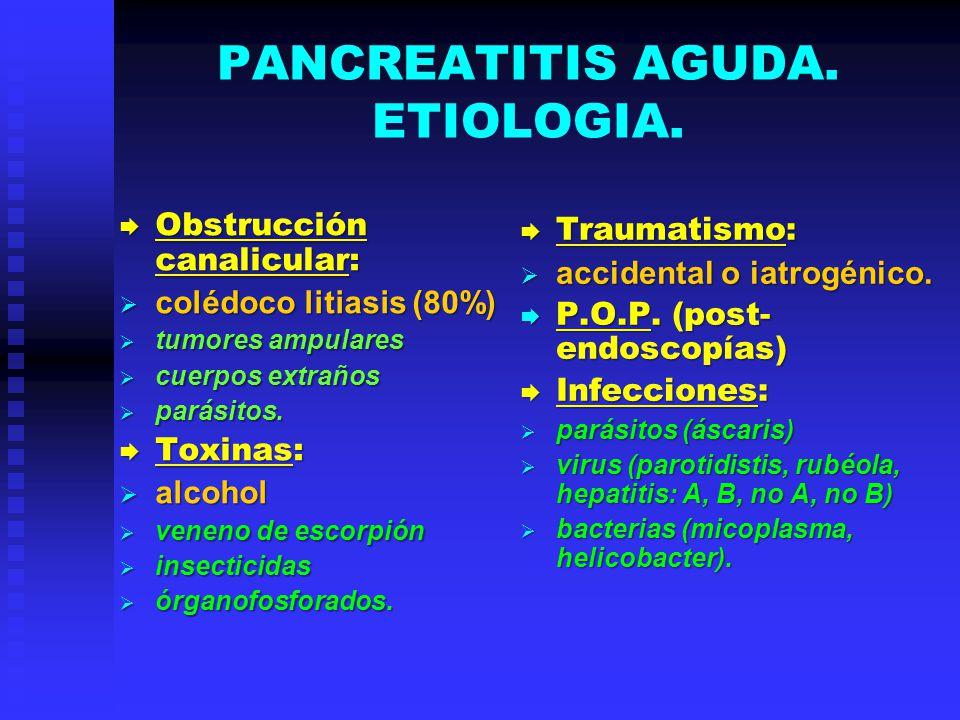 PANCREATITIS AGUDA. ETIOLOGIA. Obstrucción canalicular: Obstrucción canalicular: colédoco litiasis (80%) colédoco litiasis (80%) tumores ampulares tum