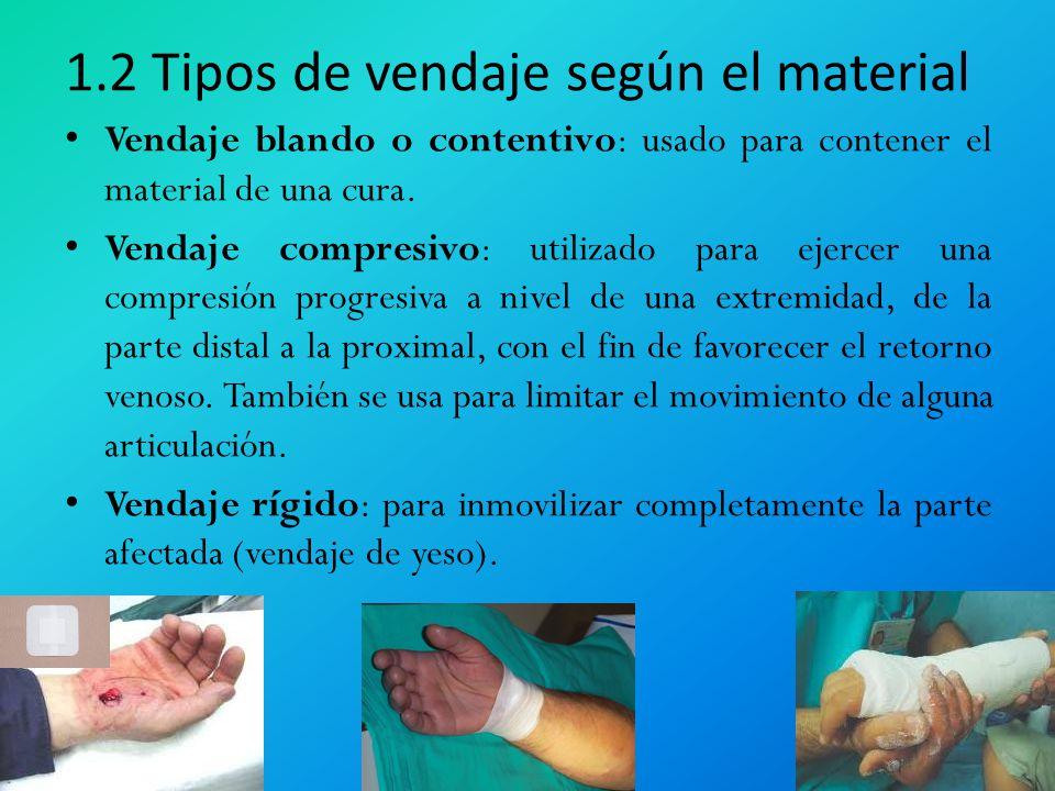 1.2 Tipos de vendaje según el material Vendaje blando o contentivo: usado para contener el material de una cura. Vendaje compresivo: utilizado para ej