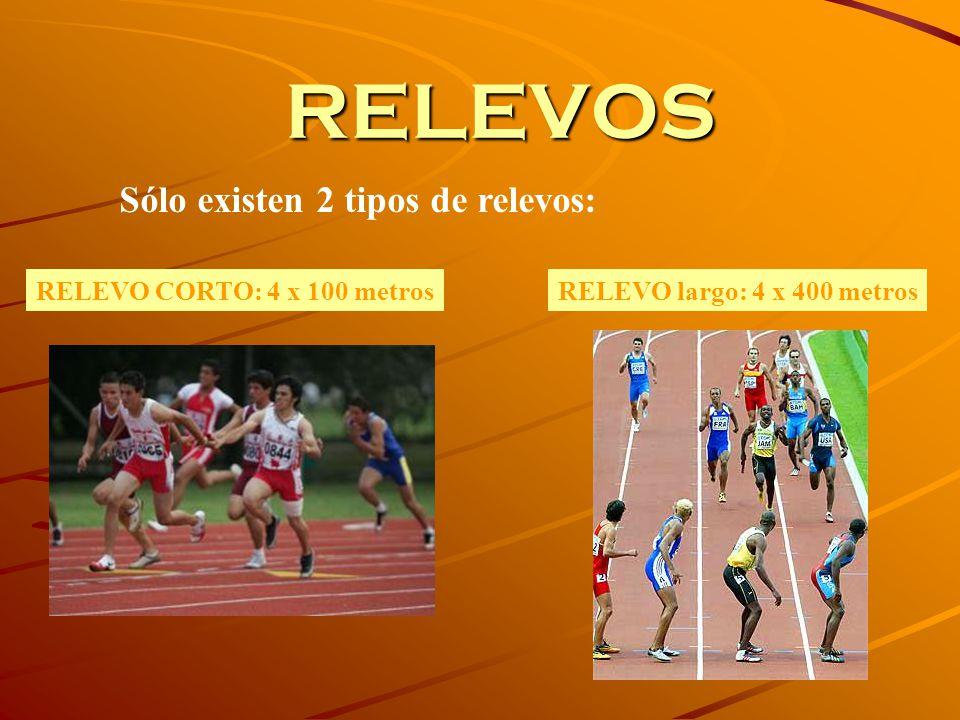 RELEVOS Sólo existen 2 tipos de relevos: RELEVO CORTO: 4 x 100 metrosRELEVO largo: 4 x 400 metros