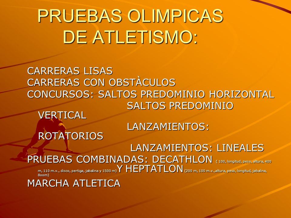 PRUEBAS OLIMPICAS DE ATLETISMO: CARRERAS LISAS CARRERAS CON OBSTÀCULOS CONCURSOS: SALTOS PREDOMINIO HORIZONTAL SALTOS PREDOMINIO VERTICAL SALTOS PREDOMINIO VERTICAL LANZAMIENTOS: ROTATORIOS LANZAMIENTOS: ROTATORIOS LANZAMIENTOS: LINEALES LANZAMIENTOS: LINEALES PRUEBAS COMBINADAS: DECATHLON ( 100, longitud, peso, altura, 400 m, 110 m.v., disco, pertiga, jabalina y 1500 m) Y HEPTATLON (200 m, 100 m.v.,altura, peso, longitud, jabalina, 8oom) MARCHA ATLETICA