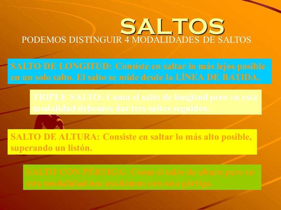 SALTOS PODEMOS DISTINGUIR 4 MODALIDADES DE SALTOS SALTO DE LONGITUD: Consiste en saltar lo más lejos posible en un solo salto.
