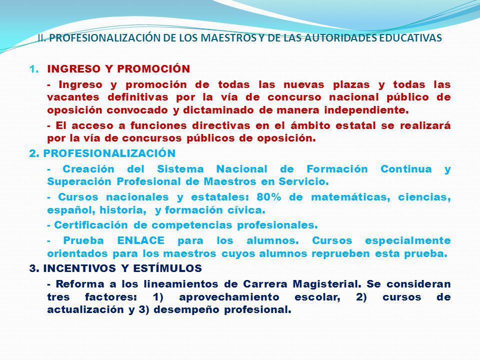 II. PROFESIONALIZACIÓN DE LOS MAESTROS Y DE LAS AUTORIDADES EDUCATIVAS 1. INGRESO Y PROMOCIÓN - Ingreso y promoción de todas las nuevas plazas y todas