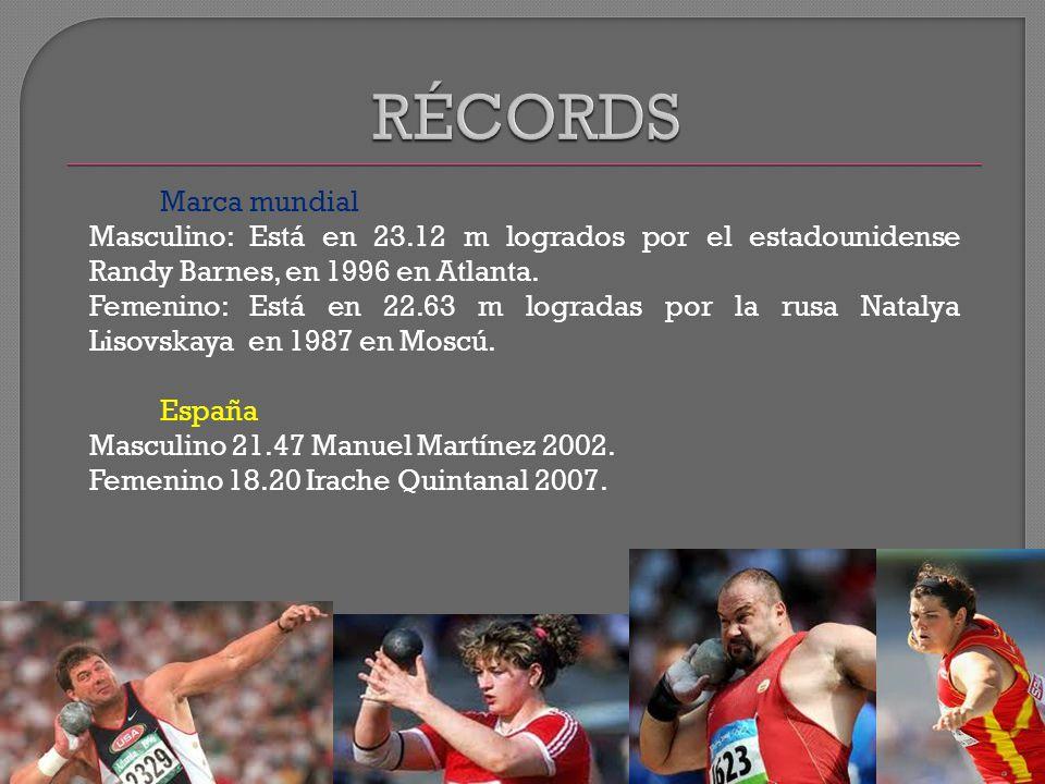 Marca mundial Masculino: Está en 23.12 m logrados por el estadounidense Randy Barnes, en 1996 en Atlanta.