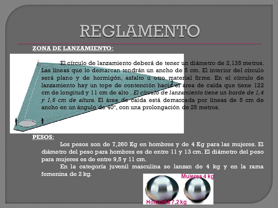 ZONA DE LANZAMIENTO: El círculo de lanzamiento deberá de tener un diámetro de 2,135 metros. Las líneas que lo demarcan tendrán un ancho de 5 cm. El in