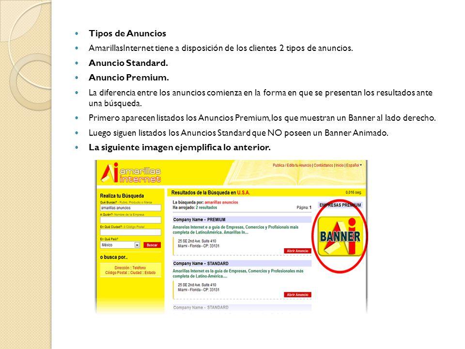 Tipos de Anuncios AmarillasInternet tiene a disposición de los clientes 2 tipos de anuncios.
