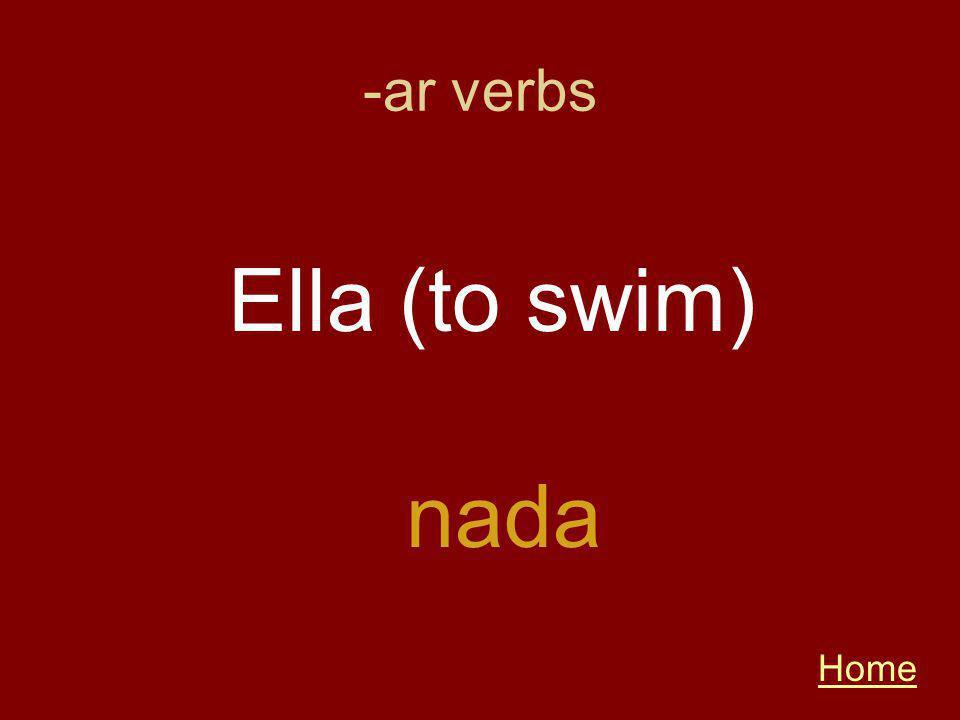 -ar verbs Home nada Ella (to swim)