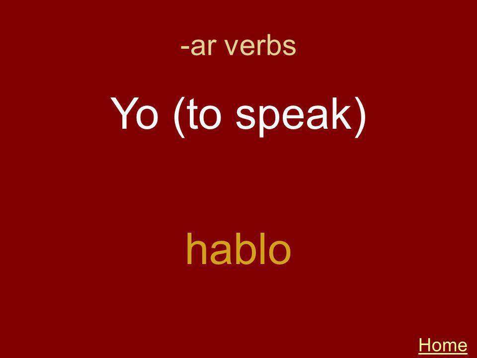 -ar verbs Home hablo Yo (to speak)