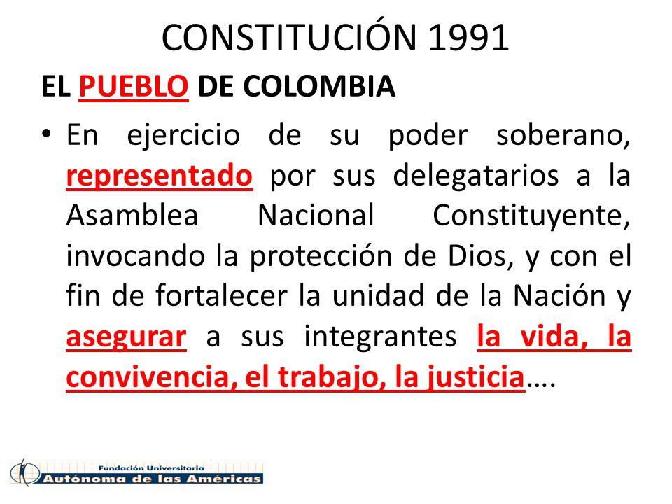 CONSTITUCIÓN 1991 EL PUEBLO DE COLOMBIA En ejercicio de su poder soberano, representado por sus delegatarios a la Asamblea Nacional Constituyente, invocando la protección de Dios, y con el fin de fortalecer la unidad de la Nación y asegurar a sus integrantes la vida, la convivencia, el trabajo, la justicia….