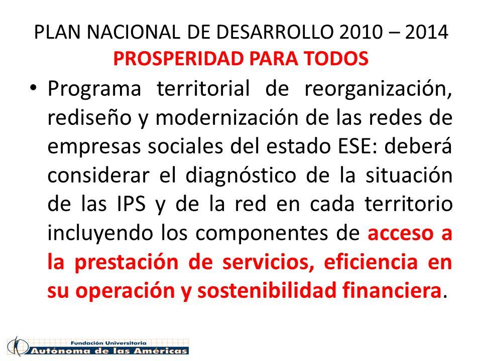 PLAN NACIONAL DE DESARROLLO 2010 – 2014 PROSPERIDAD PARA TODOS Programa territorial de reorganización, rediseño y modernización de las redes de empres