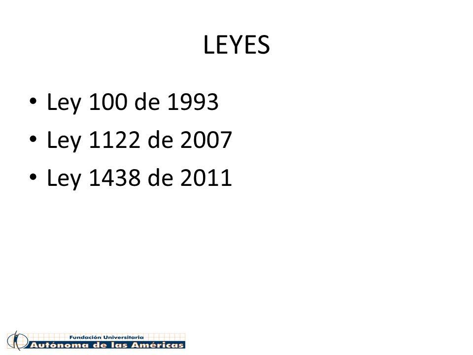 LEYES Ley 100 de 1993 Ley 1122 de 2007 Ley 1438 de 2011