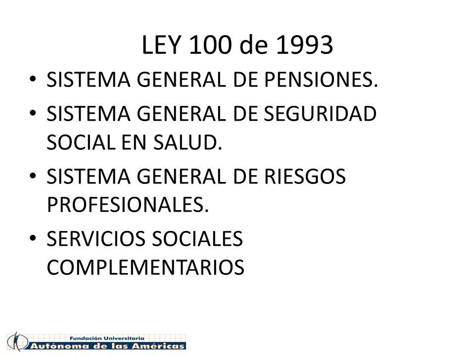 LEY 100 de 1993 SISTEMA GENERAL DE PENSIONES. SISTEMA GENERAL DE SEGURIDAD SOCIAL EN SALUD. SISTEMA GENERAL DE RIESGOS PROFESIONALES. SERVICIOS SOCIAL