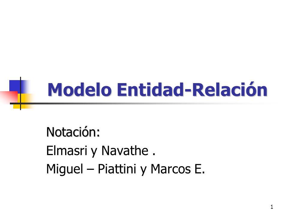 1 Modelo Entidad-Relación Notación: Elmasri y Navathe. Miguel – Piattini y Marcos E.