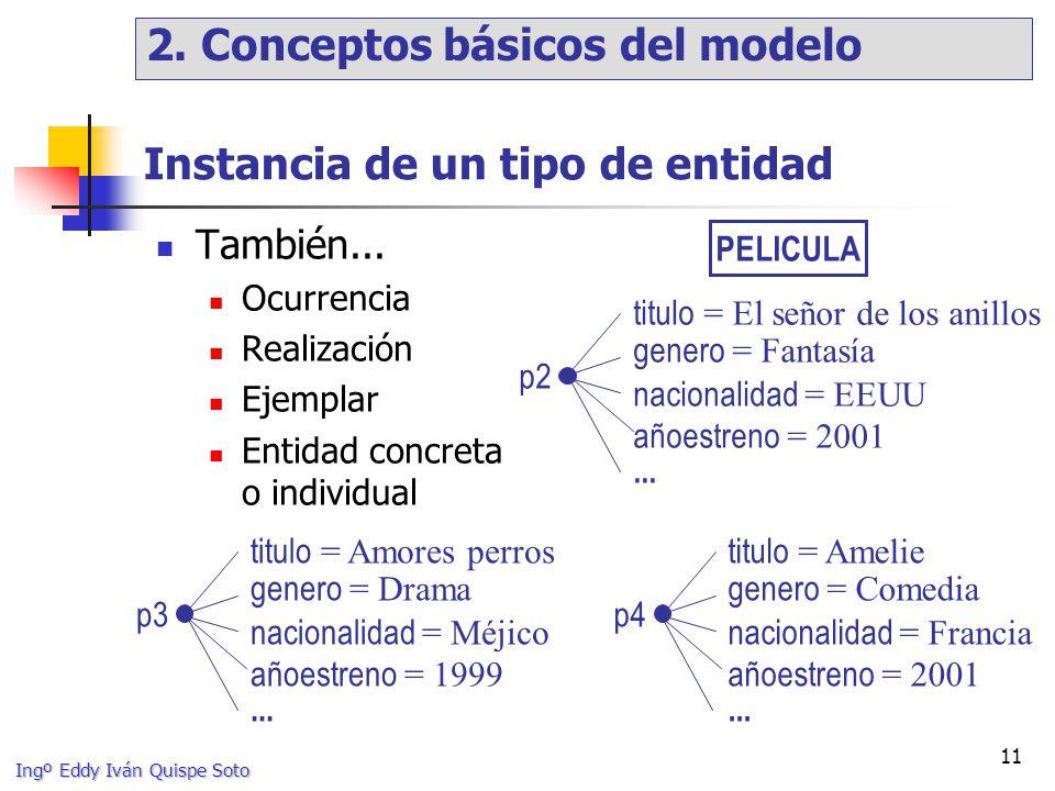 Ingº Eddy Iván Quispe Soto 11 Instancia de un tipo de entidad También...