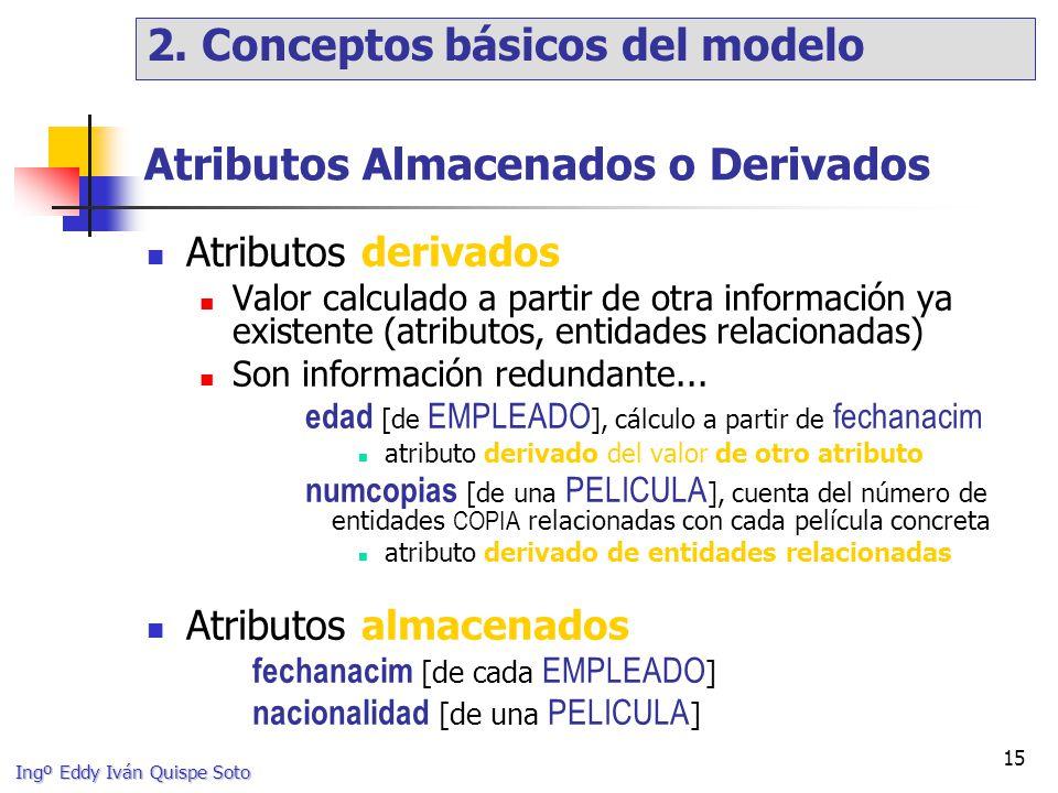 Ingº Eddy Iván Quispe Soto 15 Atributos Almacenados o Derivados Atributos derivados Valor calculado a partir de otra información ya existente (atributos, entidades relacionadas) Son información redundante...