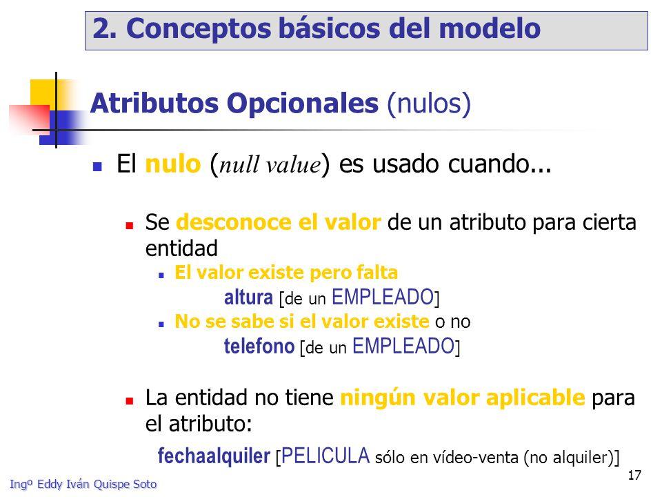 Ingº Eddy Iván Quispe Soto 17 Atributos Opcionales (nulos) El nulo ( null value ) es usado cuando...