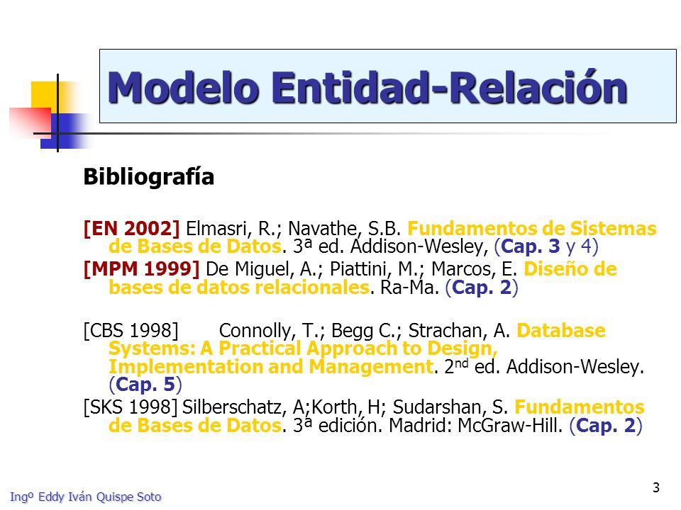 Ingº Eddy Iván Quispe Soto 44 Atributos de tipos de relación (ii) Conceptualmente pertenecen a la relación Un atributo de una M:N es propio de la relación Un atributo de una 1:1 o 1:N se puede llevar a uno de los tipos de entidad participantes horasfechainicio [EN2002] horas fechainicio EMPLEADO 1 1 TRABAJA_ENSUPERVISA N 1 LOCAL_VIDEOCLUB 2.