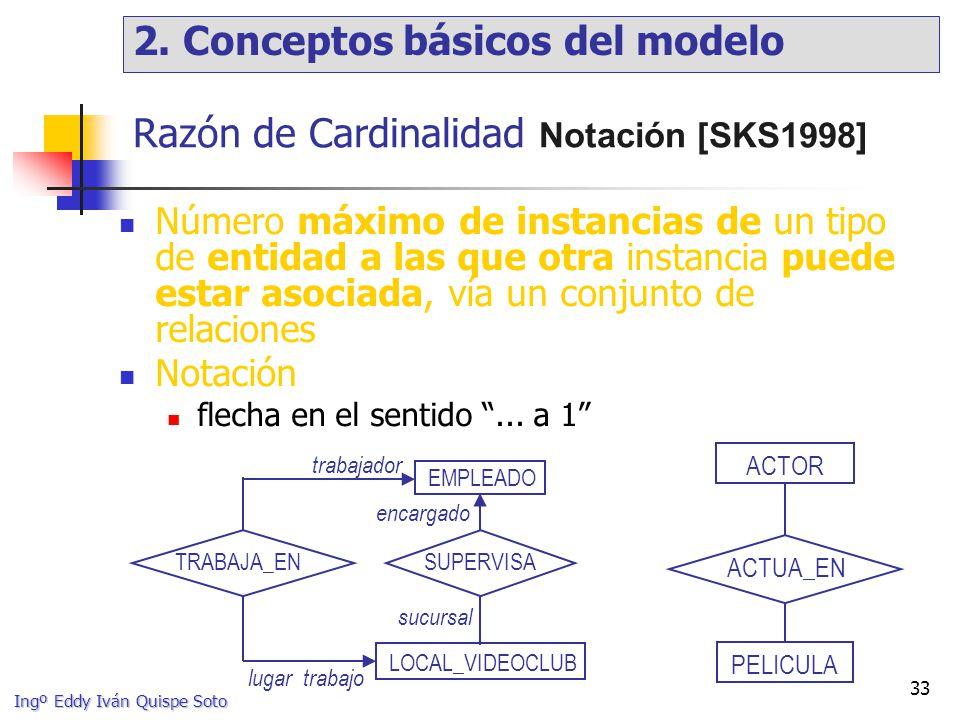 Ingº Eddy Iván Quispe Soto 33 Razón de Cardinalidad Notación [SKS1998] Número máximo de instancias de un tipo de entidad a las que otra instancia puede estar asociada, vía un conjunto de relaciones Notación flecha en el sentido...