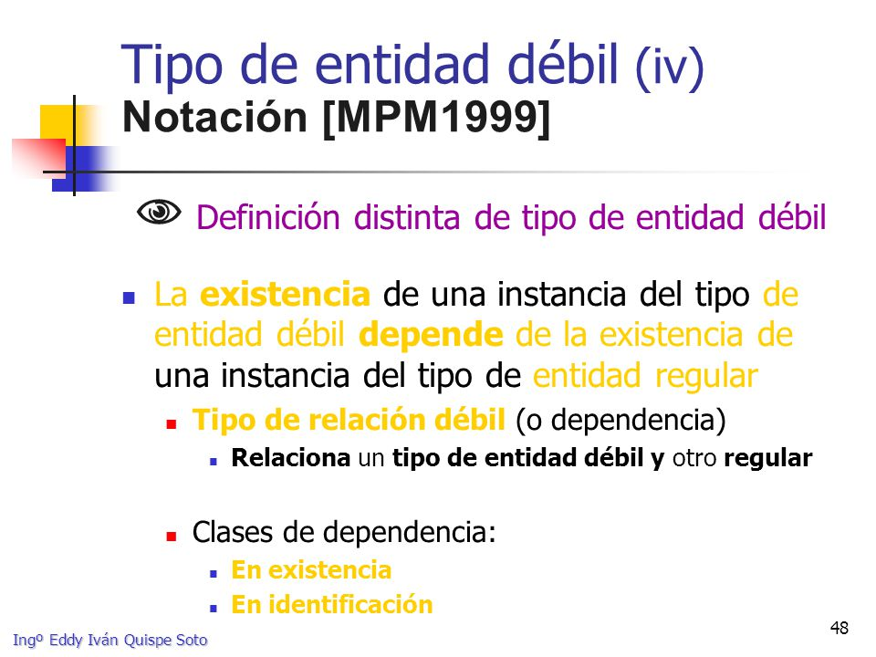 Ingº Eddy Iván Quispe Soto 48 Tipo de entidad débil (iv) Notación [MPM1999] Definición distinta de tipo de entidad débil La existencia de una instancia del tipo de entidad débil depende de la existencia de una instancia del tipo de entidad regular Tipo de relación débil (o dependencia) Relaciona un tipo de entidad débil y otro regular Clases de dependencia: En existencia En identificación
