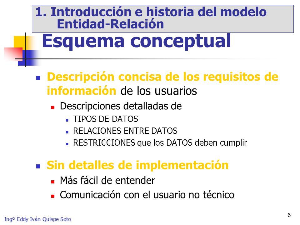 Ingº Eddy Iván Quispe Soto 67 Proceso de definición de un conjunto de subtipos de un tipo de entidad (» supertipo) Subtipos suelen estar definidos según característica distintiva de las entidades del supertipo Discriminante de la especialización E/G: Especialización EMPLEADO actividad SECRETARIOGERENTECOMERCIAL [MPM1999] 3.
