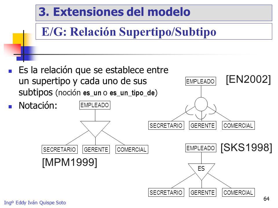Ingº Eddy Iván Quispe Soto 64 Es la relación que se establece entre un supertipo y cada uno de sus subtipos (noción es_un o es_un_tipo_de ) Notación: EMPLEADO [EN2002] [MPM1999] EMPLEADO ES [SKS1998] E/G: Relación Supertipo/Subtipo SECRETARIOGERENTECOMERCIAL SECRETARIOCOMERCIAL SECRETARIOGERENTECOMERCIAL GERENTE 3.