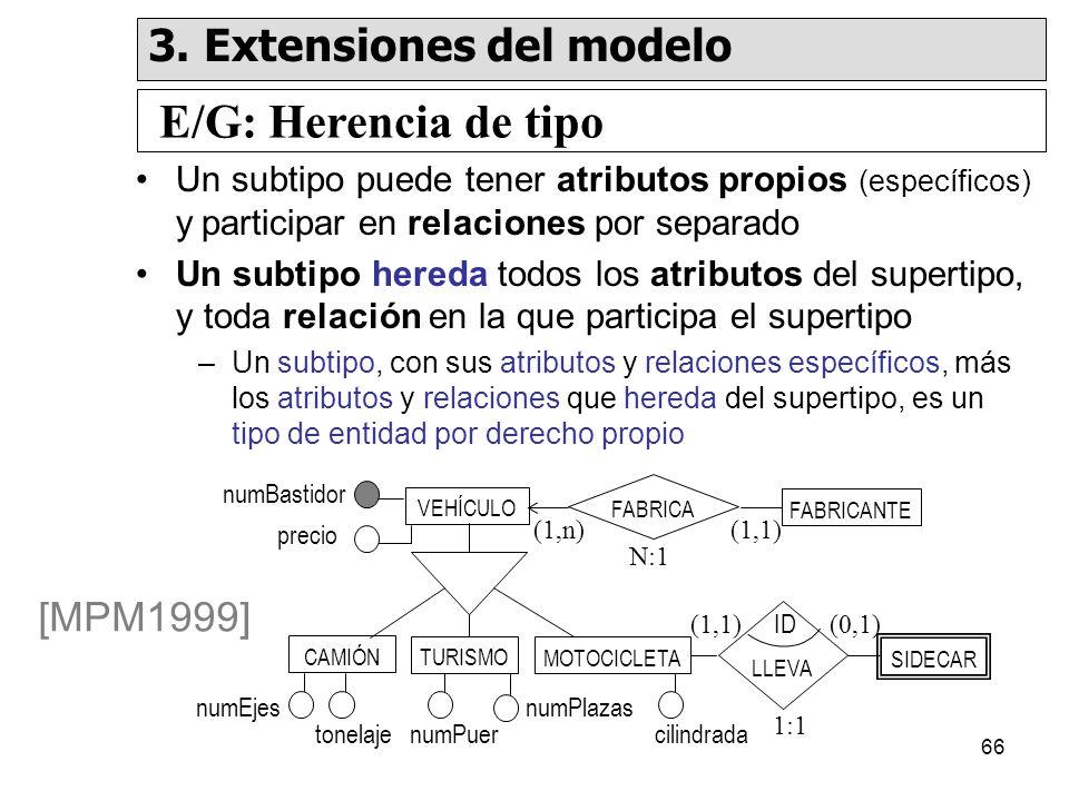 66 Un subtipo puede tener atributos propios (específicos) y participar en relaciones por separado Un subtipo hereda todos los atributos del supertipo, y toda relación en la que participa el supertipo –Un subtipo, con sus atributos y relaciones específicos, más los atributos y relaciones que hereda del supertipo, es un tipo de entidad por derecho propio VEHÍCULO CAMIÓN FABRICANTE SIDECAR FABRICA LLEVA numBastidor precio numEjes tonelajenumPuer numPlazas cilindrada ID (1,1)(1,n) (1,1)(0,1) [MPM1999] TURISMO N:1 1:1 MOTOCICLETA E/G: Herencia de tipo 3.