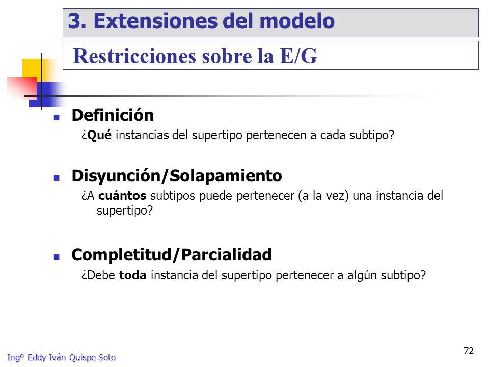 Ingº Eddy Iván Quispe Soto 72 Definición ¿Qué instancias del supertipo pertenecen a cada subtipo.