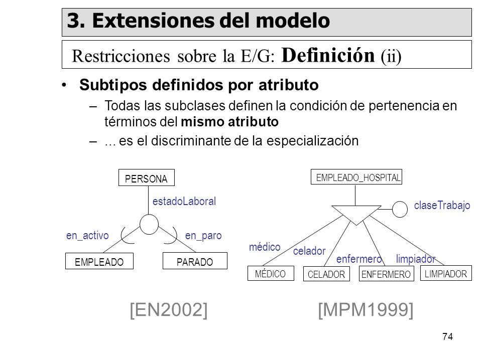 74 Subtipos definidos por atributo –Todas las subclases definen la condición de pertenencia en términos del mismo atributo –...