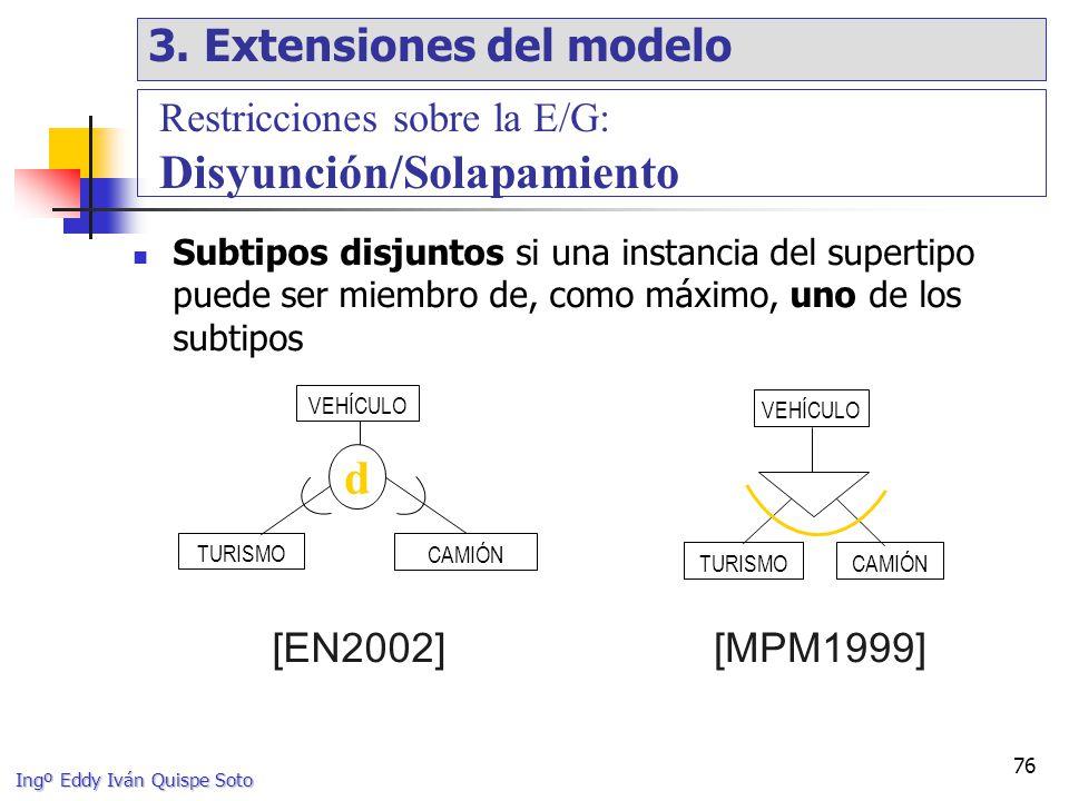 Ingº Eddy Iván Quispe Soto 76 Subtipos disjuntos si una instancia del supertipo puede ser miembro de, como máximo, uno de los subtipos VEHÍCULO TURISMO CAMIÓN d VEHÍCULO CAMIÓNTURISMO [MPM1999][EN2002] Restricciones sobre la E/G: Disyunción/Solapamiento 3.