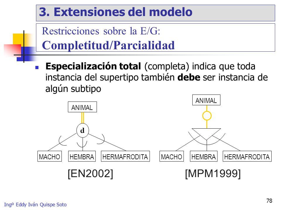 Ingº Eddy Iván Quispe Soto 78 Especialización total (completa) indica que toda instancia del supertipo también debe ser instancia de algún subtipo ANIMAL d [MPM1999][EN2002] Restricciones sobre la E/G: Completitud/Parcialidad ANIMAL MACHOHEMBRAHERMAFRODITAHEMBRAMACHOHERMAFRODITA 3.