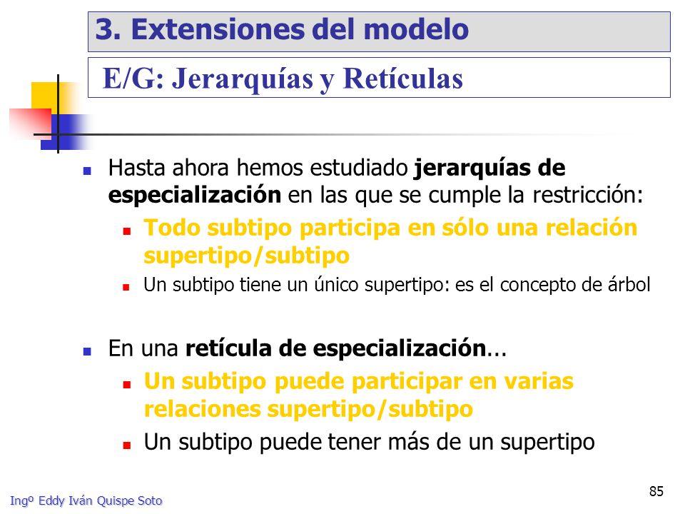 Ingº Eddy Iván Quispe Soto 85 Hasta ahora hemos estudiado jerarquías de especialización en las que se cumple la restricción: Todo subtipo participa en sólo una relación supertipo/subtipo Un subtipo tiene un único supertipo: es el concepto de árbol En una retícula de especialización...