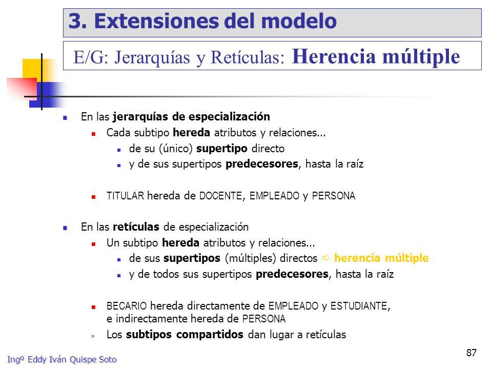 Ingº Eddy Iván Quispe Soto 87 En las jerarquías de especialización Cada subtipo hereda atributos y relaciones...
