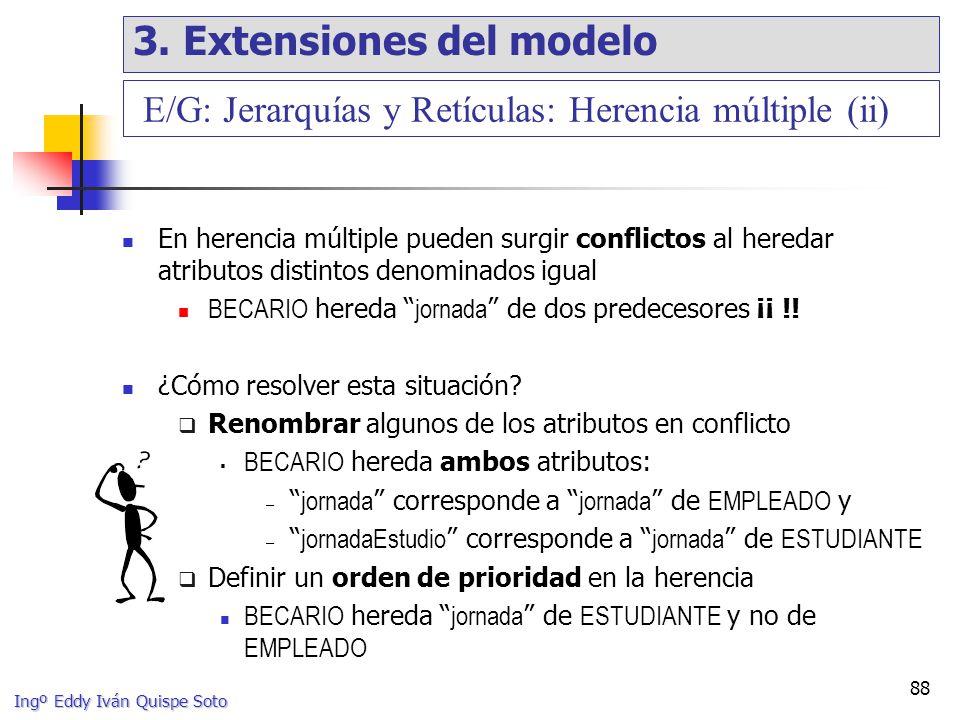 Ingº Eddy Iván Quispe Soto 88 En herencia múltiple pueden surgir conflictos al heredar atributos distintos denominados igual BECARIO hereda jornada de dos predecesores ¡¡ !.