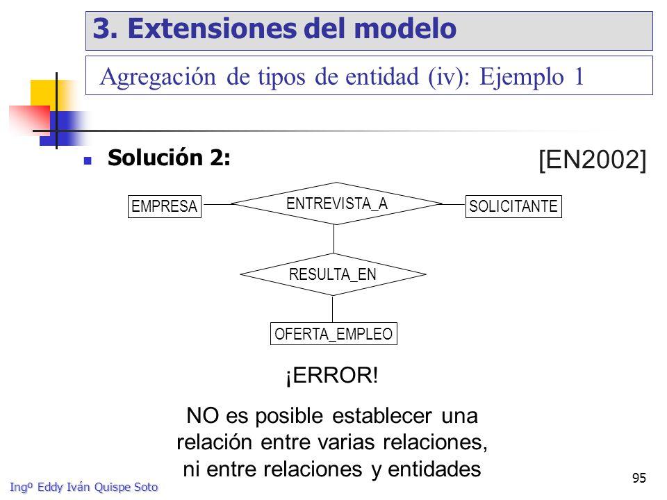 Ingº Eddy Iván Quispe Soto 95 Agregación de tipos de entidad (iv): Ejemplo 1 Solución 2: ¡ERROR.