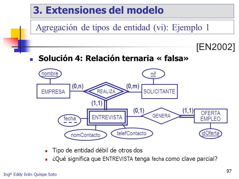 Ingº Eddy Iván Quispe Soto 97 EMPRESA OFERTA EMPLEO (1,1) (0,m) SOLICITANTE (0,n) REALIZA (0,1)(1,1) GENERA fecha nombre idOferta nif ENTREVISTA Agregación de tipos de entidad (vi): Ejemplo 1 Solución 4: Relación ternaria « falsa» [EN2002] nomContacto telefContacto Tipo de entidad débil de otros dos ¿Qué significa que ENTREVISTA tenga fecha como clave parcial.