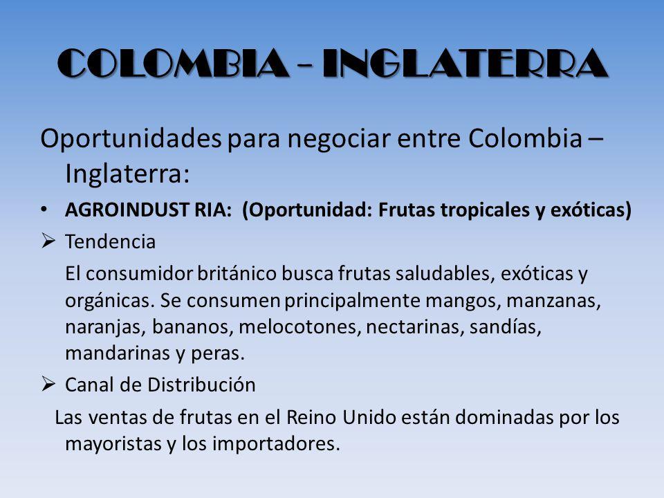 COLOMBIA - INGLATERRA Oportunidades para negociar entre Colombia – Inglaterra: AGROINDUST RIA: (Oportunidad: Frutas tropicales y exóticas) Tendencia E